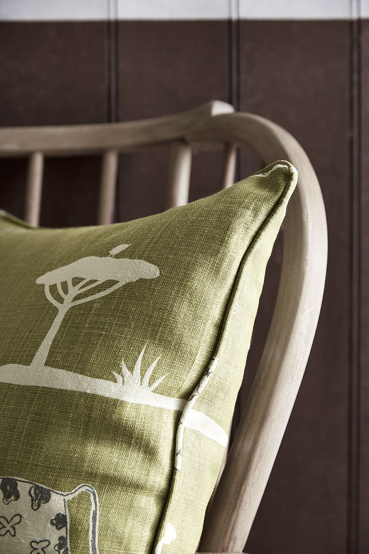 Piped and Zipped Cushion in our new design WIld and Free in Kale.