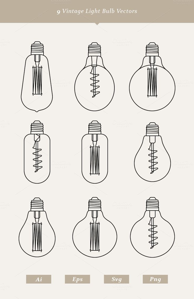 9 Vintage Light Bulb Vectors by Dreamstale on Creative Market