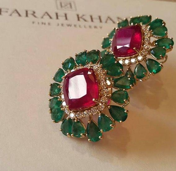 Fkh Ruby And Emerald Earpiece Jd In 2018 Pinterest Jewelry Jewels Earrings