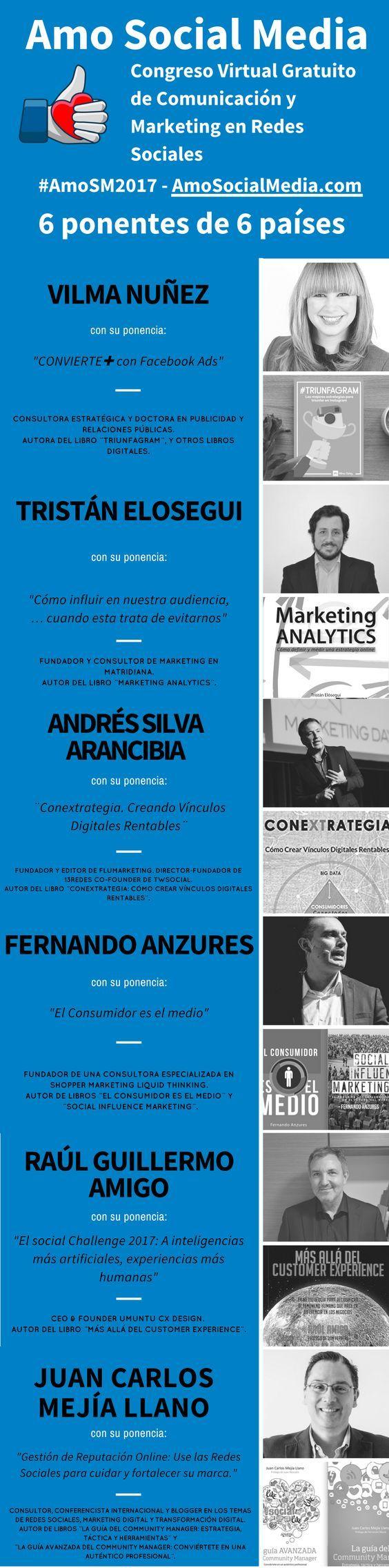Tendremos conferencias de seis grandes expertos en comunicación y marketing digital. Actualiza tus conocimientos con el congreso virtual de Social Media #AmoSM2017. https://goo.gl/3aqcIj
