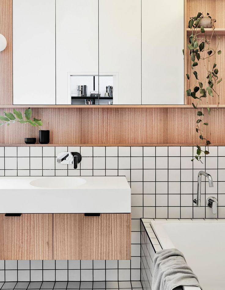 white square tile + black grout + plywood + australian design bathroom renovation modern addition