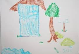 The blue house with one window with ocean view. Rebecca, 8 years