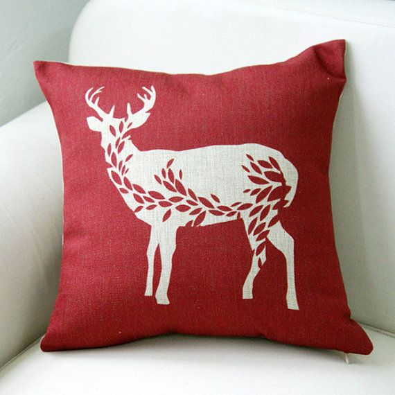 "Deer  Linen pillow cover w Housewares animal Pillow Pillow cover Cushion cover brown Home Decor Throw pillow Decorative pillow18"" on Etsy, $22.58 AUD"