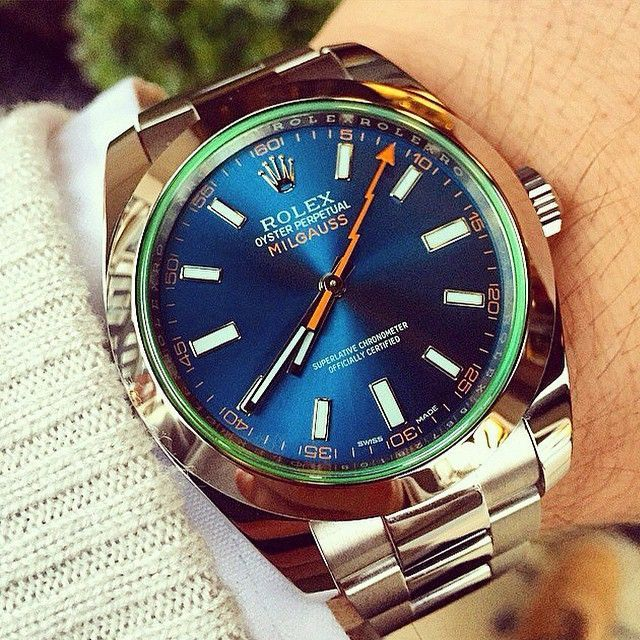 Absolutely sea-deep shot of the Rolex Milgauss blue dial by @thewatchbox (c/o @jimmycosmo ) just want to dive in. I've always been so fascinated by the Milgauss and its lightning bolt second hand, not to mention Milgauss wearers - it's like the quirk