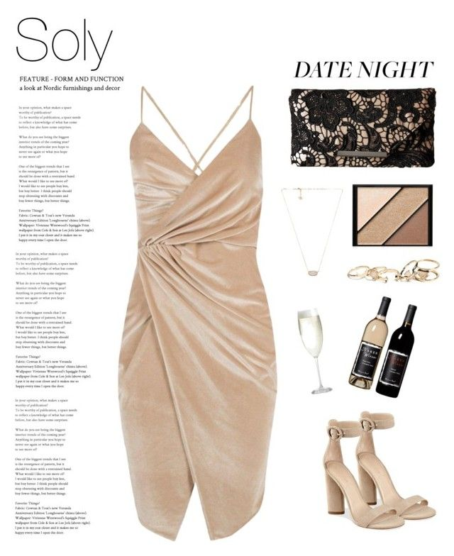 """Soly: date night🖤"" by solyslstore ❤ liked on Polyvore featuring Boohoo, Jessica McClintock, Kendall + Kylie, Kendra Scott, GUESS, Elizabeth Arden and Crate and Barrel"