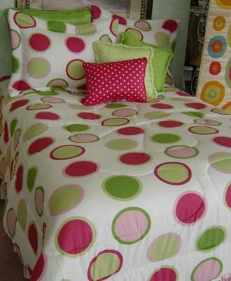 Twister Hot Pink Lime Green Polka Dot Circles Comforter