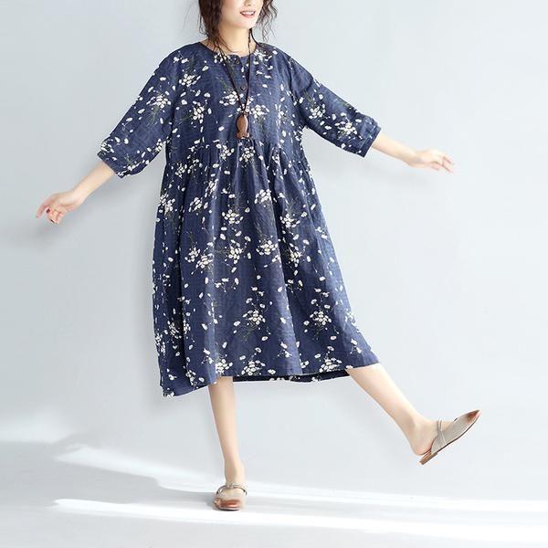 Women Loose Casual Floral Blue Linen Dress