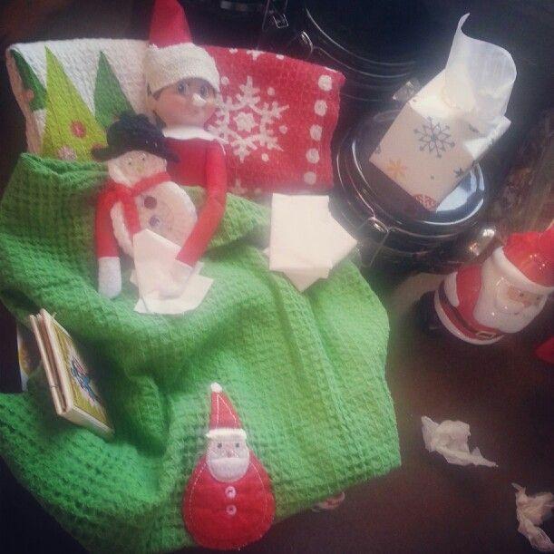Elf on the shelf ... sick elf | Elf on the shelf ideas | Pinterest
