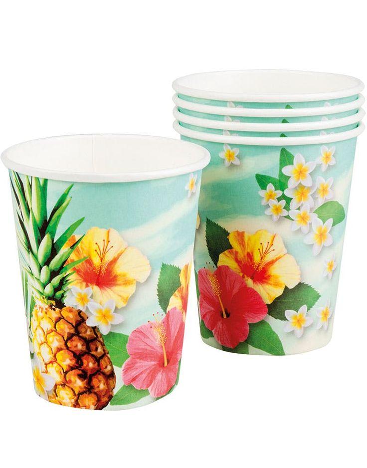 6 stk Pappmuggar 250 ml - Hawaii Paradis - Koppar och Muggar - Bestick och servis - Produkttyper - ALLT TILL FEST