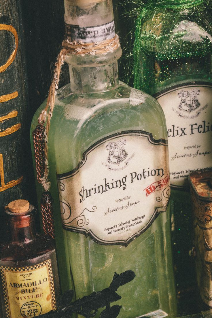 "DIY Harry Potter Potions for Halloween: Shrinking Potion - Scrapbook.com  This gives me an idea for a game sort of like truth or dare. ""veritaserum, or confundus."" lol can deck it out w/new rules and stuff if i feel. also, maybe a gameboard? some trivia. idk i'll figure it out later."