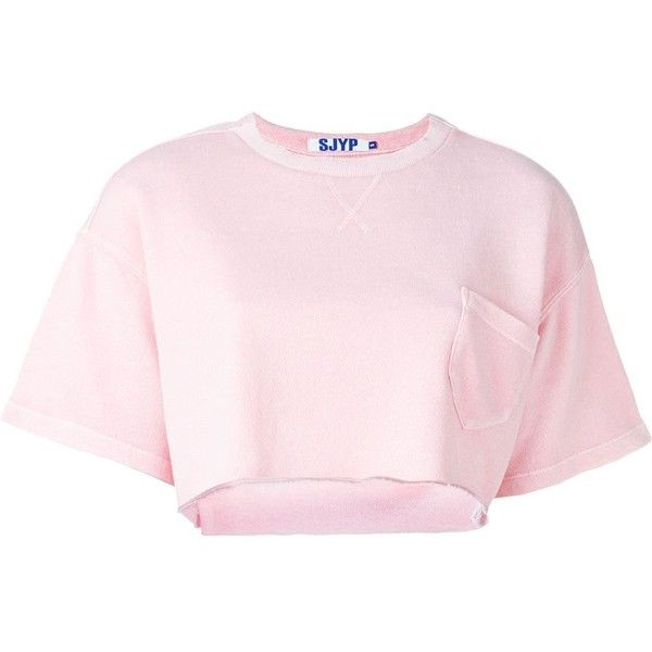 Steve J & Yoni P Shortsleeved Crop Sweatshirt ($177) ❤ liked on Polyvore featuring tops, hoodies, sweatshirts, shortsleeve sweatshirts, short sleeve tops, pink crop top, short sleeve crop top and crop top