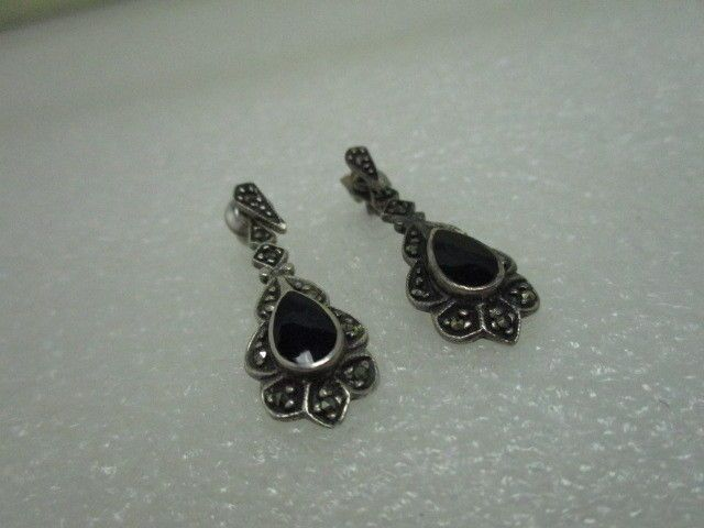 Vintage Sterling Silver Onyx Marcasite Earrings, Pierced -Stud and Dangle, 3.85g #Starpictograph #piercedstudanddangle