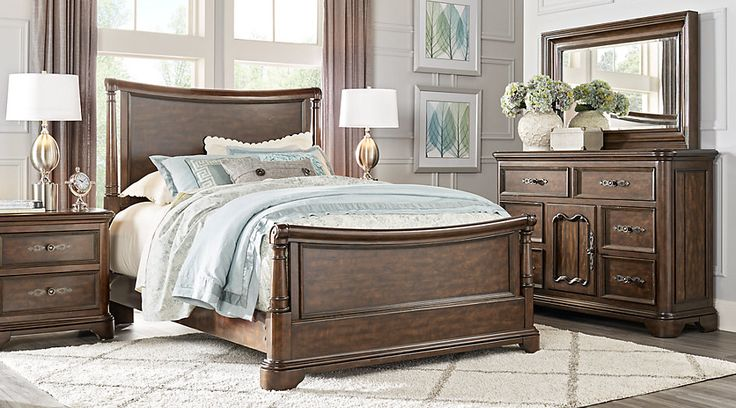 Cindy Crawford Home Notting Hill Cherry 5 Pc King Sleigh Bedroom from  Furniture