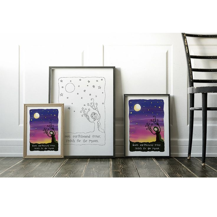 Adult Coloring + Reach for the Moon + Inspiration Poster + Printable Poster + Print and Colour + Colouring Printouts by HandMeThatPencil on Etsy