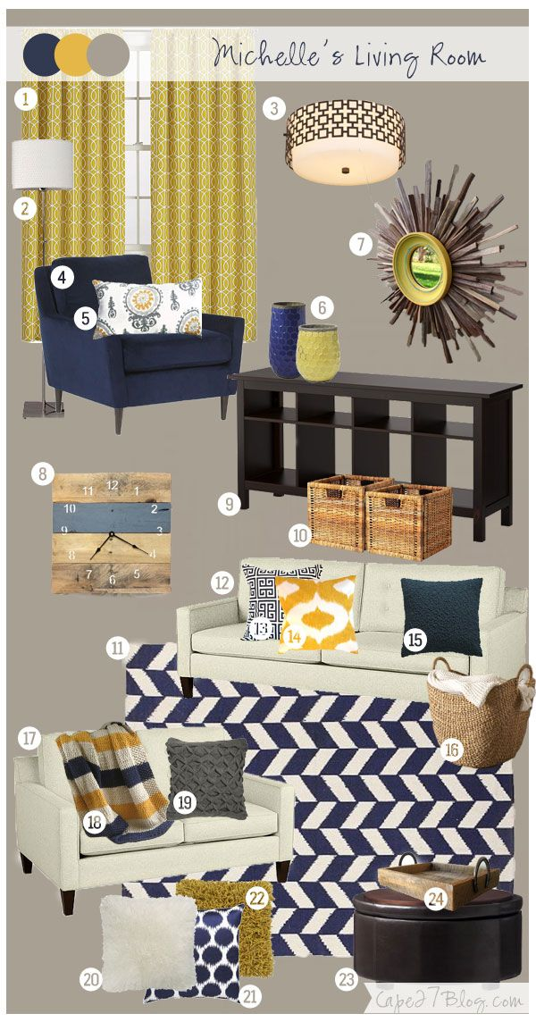 Navy emphasis here. In my living room, I'd also have Tiffany blue and canary yellow along with these colors.