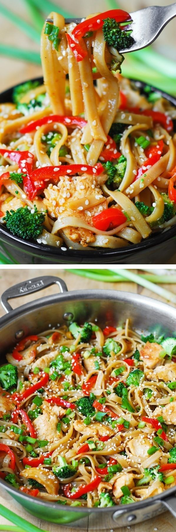 Asian Sesame Chicken & Noodles in a homemade Asian sauce – delish and easy-to-make! Thinly sliced bell peppers, blanched broccoli, grilled or seared chicken, toasted sesame seeds.
