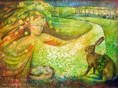 GODDESS of the DAY: Ostara  Eostre at Spring Equinox  by Wendy Andrew