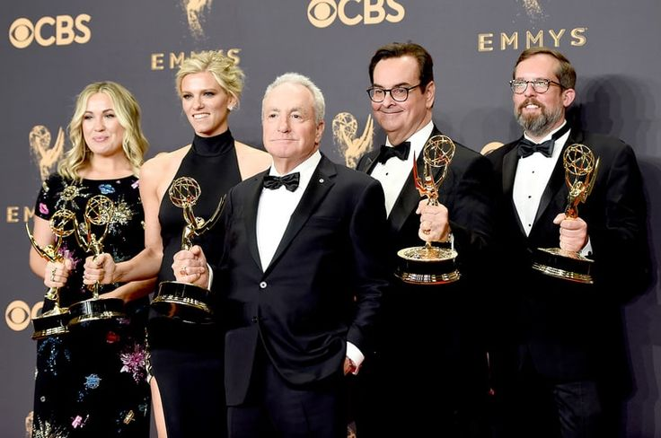 Producers Erin Doyle, Lindsay Shookus, Lorne Michaels, Steve Higgins, and Erik Kenward, winners of Outstanding Variety/Sketch Series for 'Saturday Night Live,' pose in the press room during the 69th Annual Primetime Emmy Awards at Microsoft Theater on September 17, 2017 in Los Angeles, California.