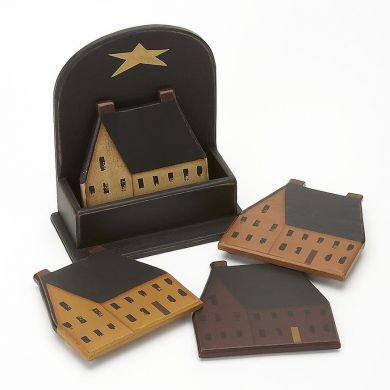 Primitive Saltbox Houses Coasters with Caddy