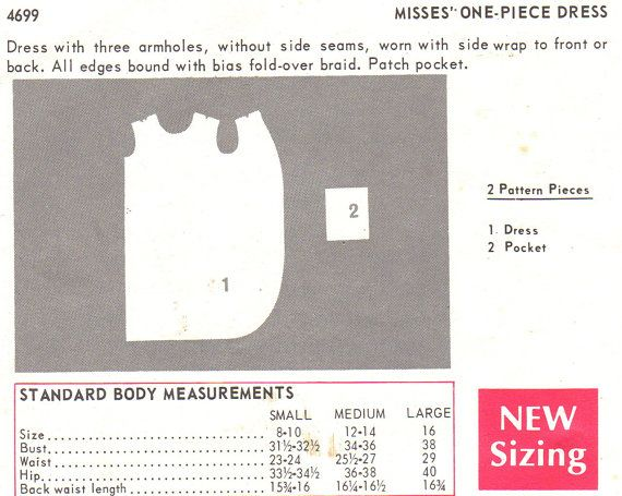 Vintage 1960s Butterick 4699 mod dress with three armholes, without side seams, can be worn with side wrap to front or back. All edges are