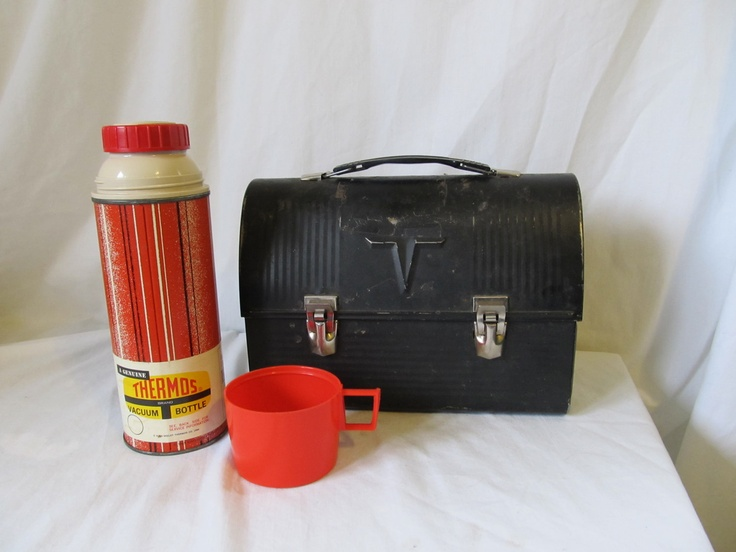 Vintage 1960 S Black Metal Lunch Box With Original Thermos Included I Remember My Dad Had This Lunch Box And The Vintage Lunch Boxes Metal Lunch Box Lunch Box
