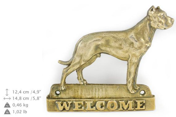 Dogo Argentino dog welcome hanging decoration by ArtDogshopcenter