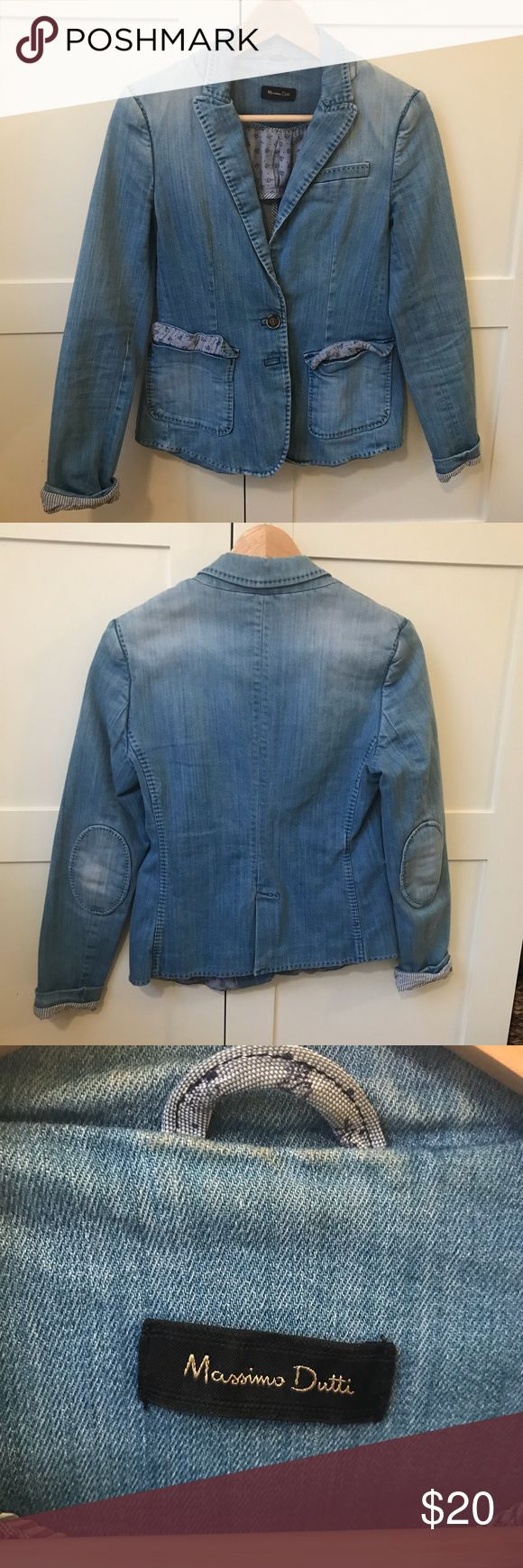 Massimo Dutti Faded Denim Blazer Massimo Dutti faded denim blazer. Purchased directly from their store in Italy! Size small.   Extremely versatile! Perfect as an extra layer in the warmer months - looks great over maxi dresses, with linen pants, with shorts, endless options!!!   Open to all offers. Massimo Dutti Jackets & Coats Blazers