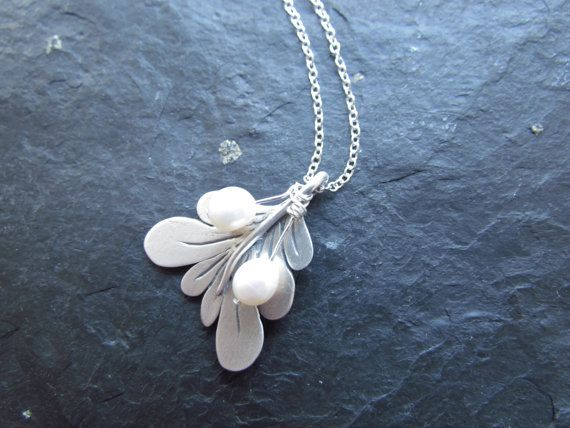 Silver mistletoe and freshwater pearl necklace | Freshwater pearl ...