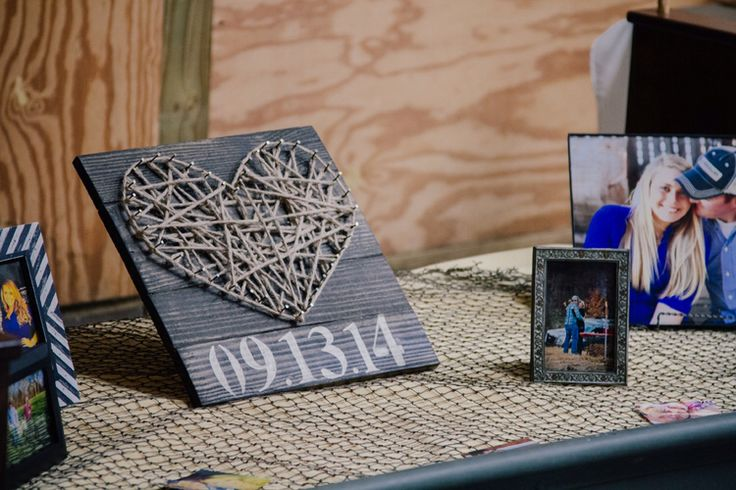 Table wedding decoration rustic pictures heart nail string established date barn fishing net