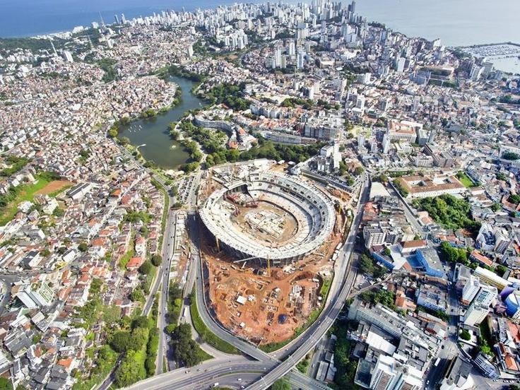 Obras do Estádio da Fonte Nova em Salvador, Bahia. Copa do Mundo Brasil 2014