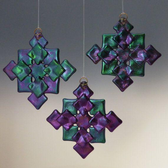 PRISM Cool Tones Black Iridized Fused Glass Snowflake Ornament Suncatcher via Etsy