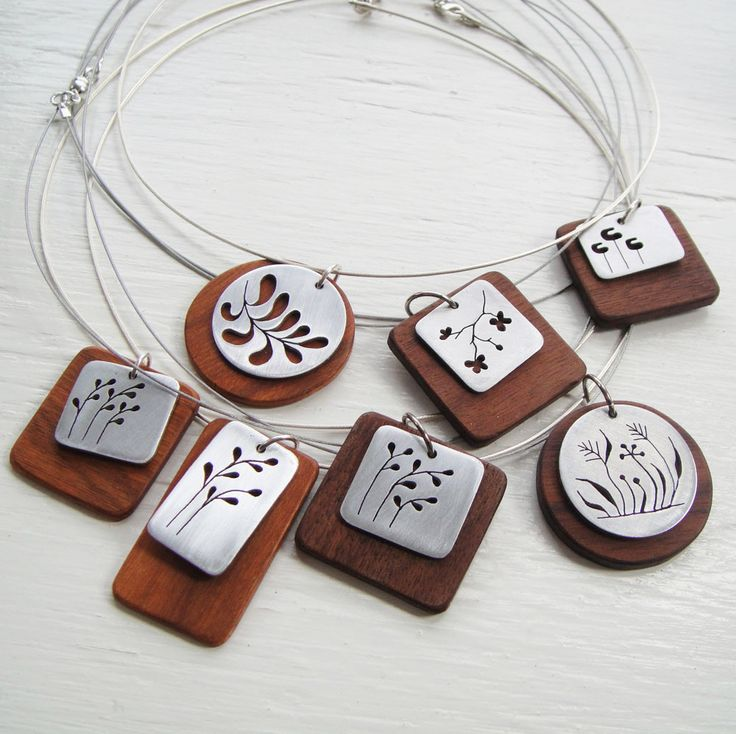 Pine Square Cutout Neckwire Necklace in Walnut -- Modern Woods. $58.00, via Etsy.