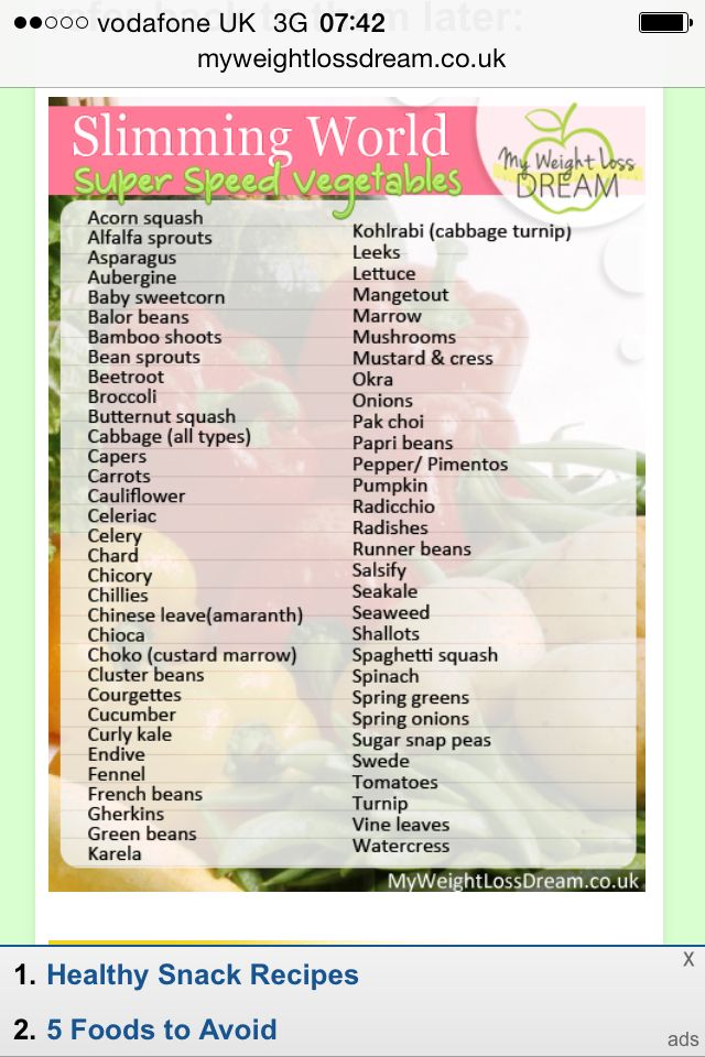 Super Speed Veg Slimming World Pinterest