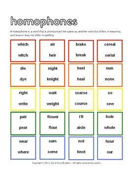Homophones Worksheet for English Language Learners (ELL, EFL, ESL)