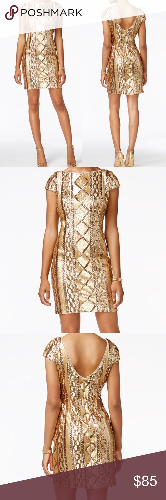 Adrianna Papell Gold Metallic Sequined Dress Sz 8 Adrianna Papell Gold Metallic Sequined Dress Sz 8  Size: 8 (medium)  New with tags- NWT  Short sleeve, above knee  Tags: cocktail party event; wedding sheath dress Adrianna Papell Dresses