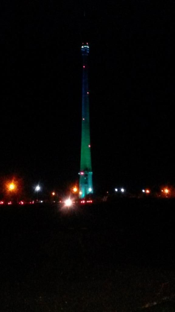 Awesome images of the mast lit up for the Tour de France.