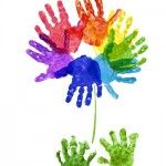 Rainbow Handprint Flower