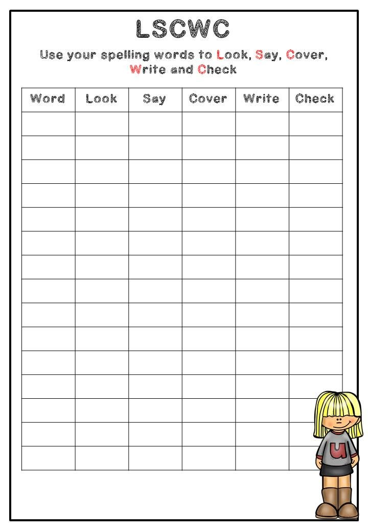 look say cover write and check worksheets for preschool