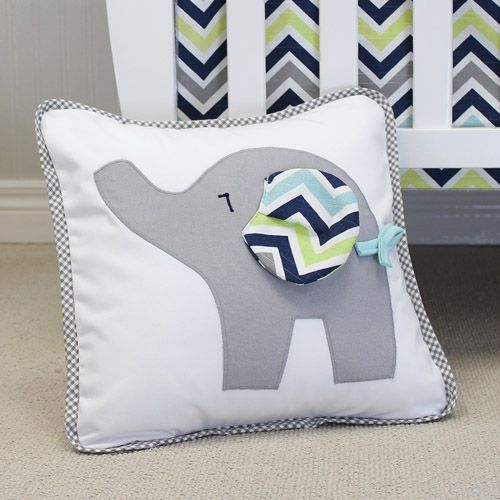 Happy Elephant Decor Pillow.  Cute grey gingham piping compliment this baby elephant with chevron navy floppy ear.  Sham removes for washing.