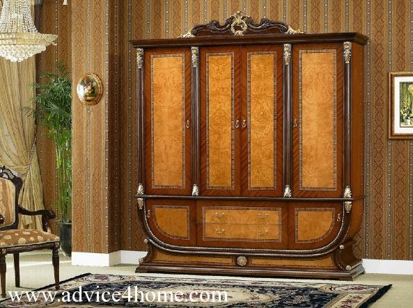 Traditional wardrobe design with brown wall design
