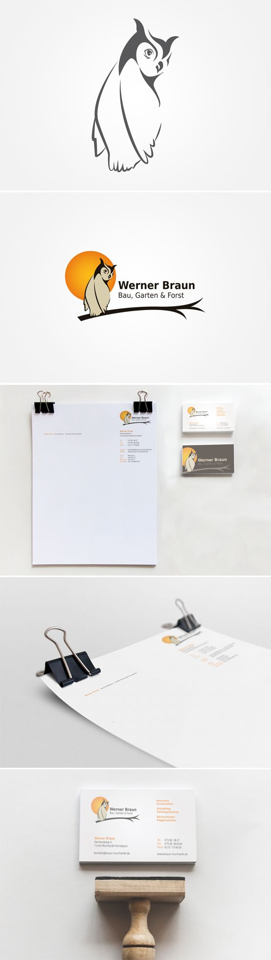 Für Werner Braun - Bau, Garten & Forst entwickelte Smoco ein Logo, sowie Visitenkarten, Brief- und Faxpapier. | #design #logo #owl #moon #eule #mond #ast #orange #galabau #visitenkarte #briefpapier #business card #letterhead #Germany | made with love in Stuttgart by www.smoco.de