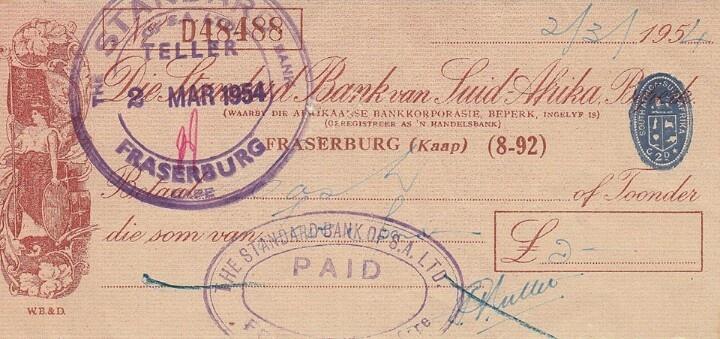 Standard Bank in the 50's - die check is nog in pond