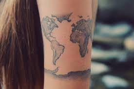 Bildresultat för world map tattoo around arm