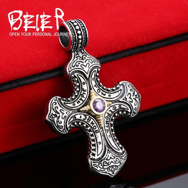 Beier Нержавеющей Стали 316L кулон ожерелье Таиланд стиль каменный крест кулон ювелирные изделия BP8-164