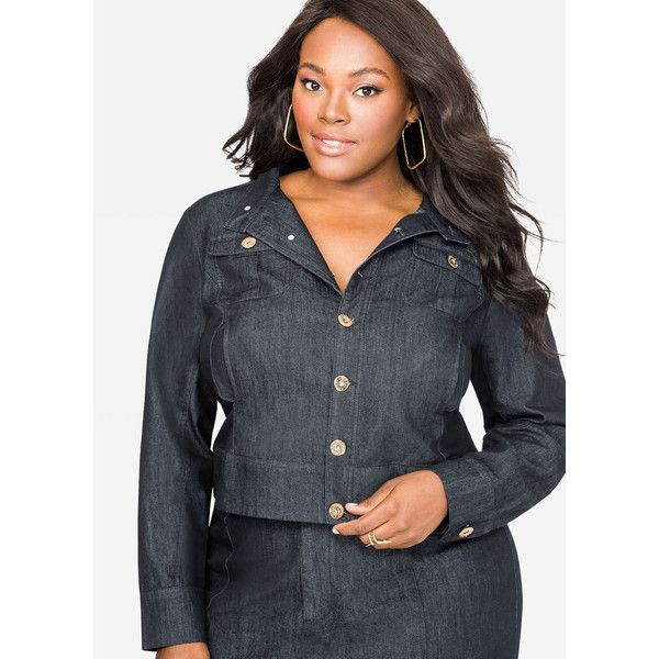 Ashley Stewart Indigo Wash Military Jean Jacket (34 CAD) ❤ liked on Polyvore featuring outerwear, jackets, plus size military style jacket, stand collar jacket, plus size womens military style jacket, denim jacket and women's plus size denim jacket