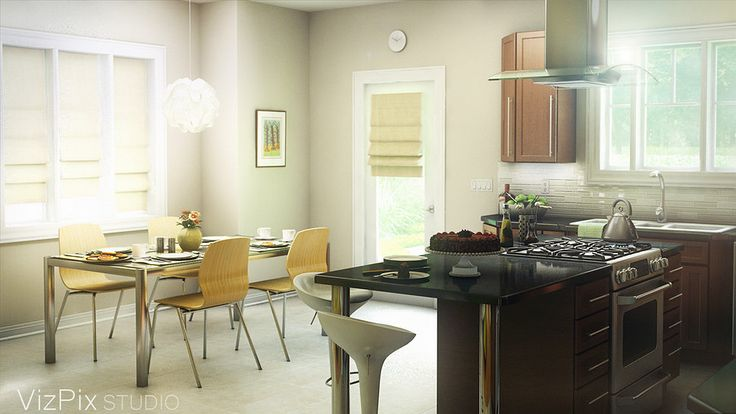 Modern kitchen rendered by VizPix Studio in the Niagara region. Image rendered in 3ds Max using the Vray renderer.