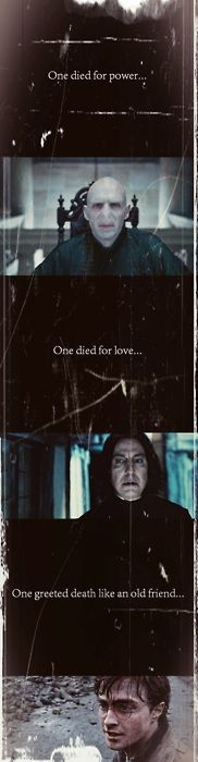 Deathly Hallows, Voldemort, Snape, and Harry. -- i love this so much