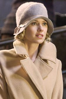"""Naomi Watts as Ann Darrow in Peter Jackson's 2005 remake of the 1933 classic""""King Kong,"""" wearing a beautiful camel coat and cloche."""