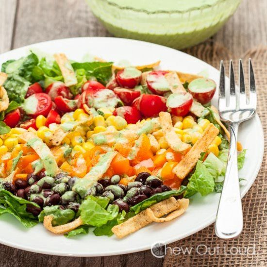 Southwestern Chopped Salad.  Creamy Cilantro Lime Dressing.  Bring some bold color, brightness, and festivity into your day.
