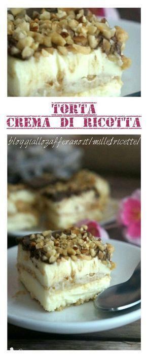 Torta crema di ricotta Vi assicuro che è troppo buona http://blog.giallozafferano.it/mille1ricette/torta-crema-di-ricotta/